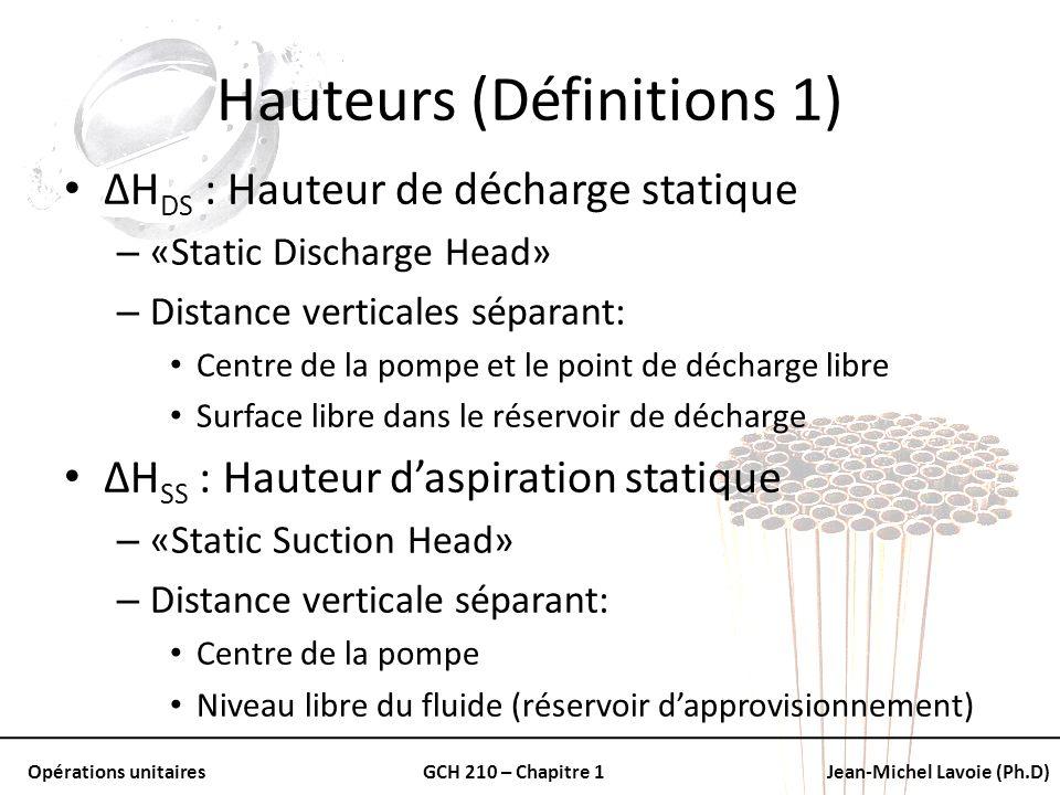 Opérations unitairesGCH 210 – Chapitre 1Jean-Michel Lavoie (Ph.D) Hauteurs (Définitions 1) ΔH DS : Hauteur de décharge statique – «Static Discharge He