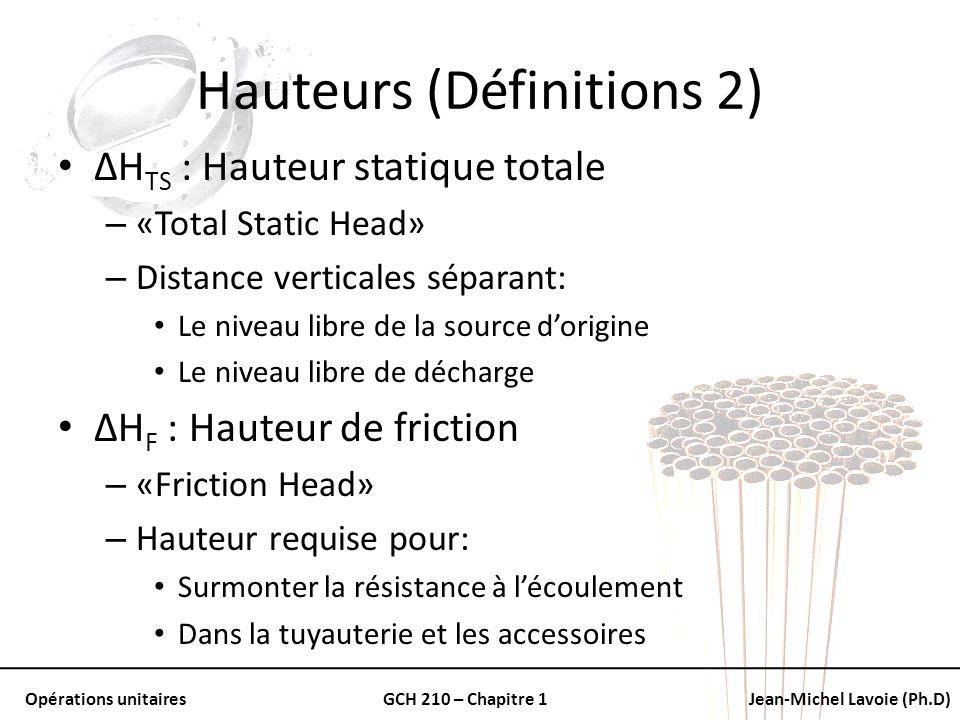 Opérations unitairesGCH 210 – Chapitre 1Jean-Michel Lavoie (Ph.D) Hauteurs (Définitions 2) ΔH TS : Hauteur statique totale – «Total Static Head» – Dis