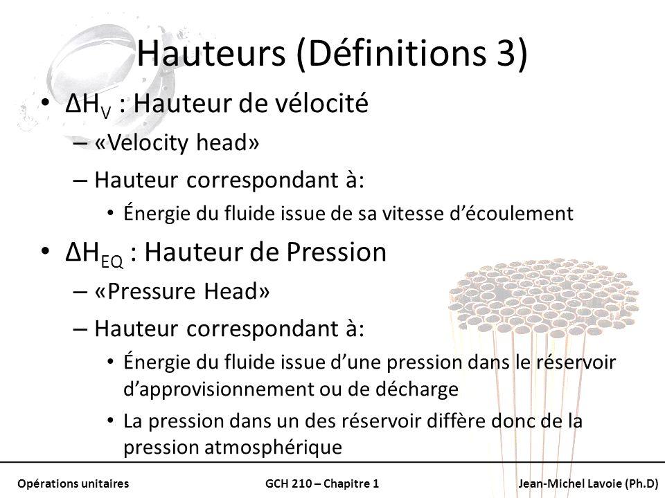 Opérations unitairesGCH 210 – Chapitre 1Jean-Michel Lavoie (Ph.D) Hauteurs (Définitions 3) ΔH V : Hauteur de vélocité – «Velocity head» – Hauteur corr