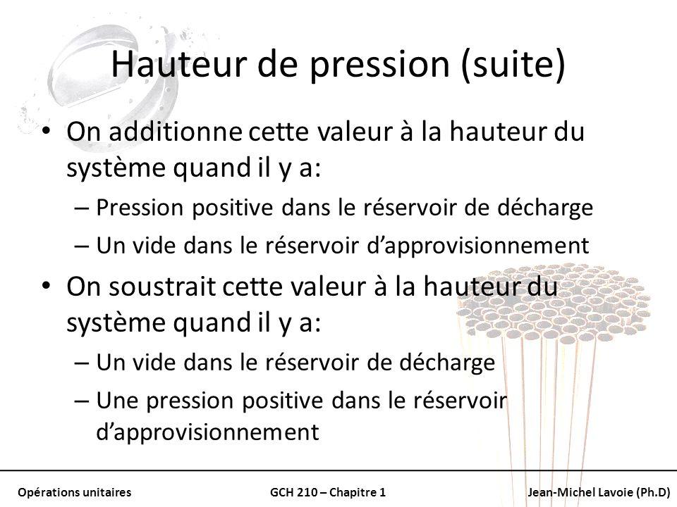 Opérations unitairesGCH 210 – Chapitre 1Jean-Michel Lavoie (Ph.D) Hauteur de pression (suite) On additionne cette valeur à la hauteur du système quand