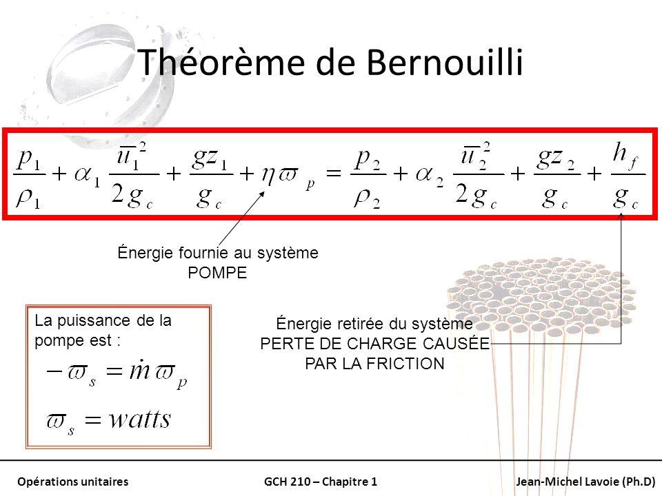 Opérations unitairesGCH 210 – Chapitre 1Jean-Michel Lavoie (Ph.D) Théorème de Bernouilli Énergie fournie au système POMPE Énergie retirée du système P