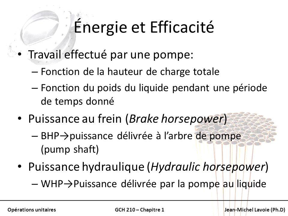 Opérations unitairesGCH 210 – Chapitre 1Jean-Michel Lavoie (Ph.D) Énergie et Efficacité Travail effectué par une pompe: – Fonction de la hauteur de ch