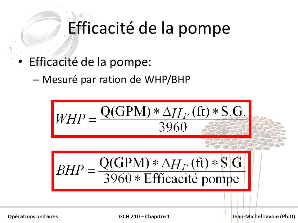 Opérations unitairesGCH 210 – Chapitre 1Jean-Michel Lavoie (Ph.D) Efficacité de la pompe Efficacité de la pompe: – Mesuré par ration de WHP/BHP