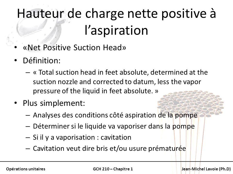 Opérations unitairesGCH 210 – Chapitre 1Jean-Michel Lavoie (Ph.D) Hauteur de charge nette positive à laspiration «Net Positive Suction Head» Définitio