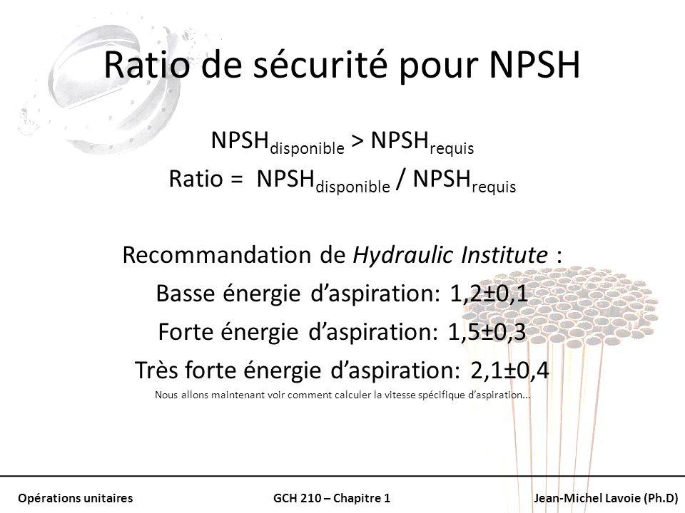 Opérations unitairesGCH 210 – Chapitre 1Jean-Michel Lavoie (Ph.D) Ratio de sécurité pour NPSH NPSH disponible > NPSH requis Ratio = NPSH disponible /