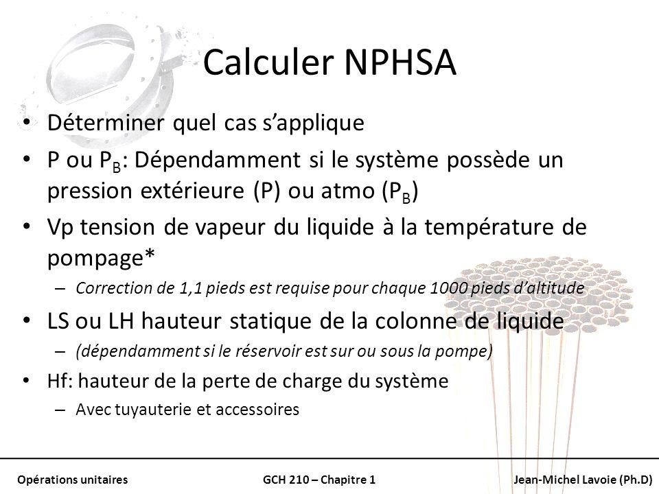 Opérations unitairesGCH 210 – Chapitre 1Jean-Michel Lavoie (Ph.D) Calculer NPHSA Déterminer quel cas sapplique P ou P B : Dépendamment si le système p