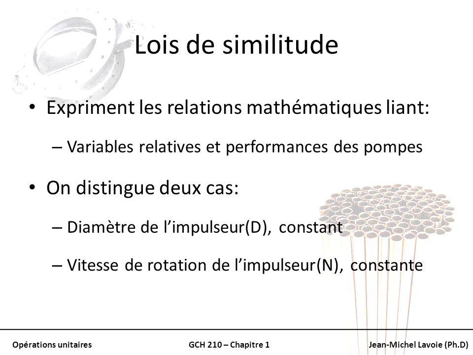Opérations unitairesGCH 210 – Chapitre 1Jean-Michel Lavoie (Ph.D) Lois de similitude Expriment les relations mathématiques liant: – Variables relative