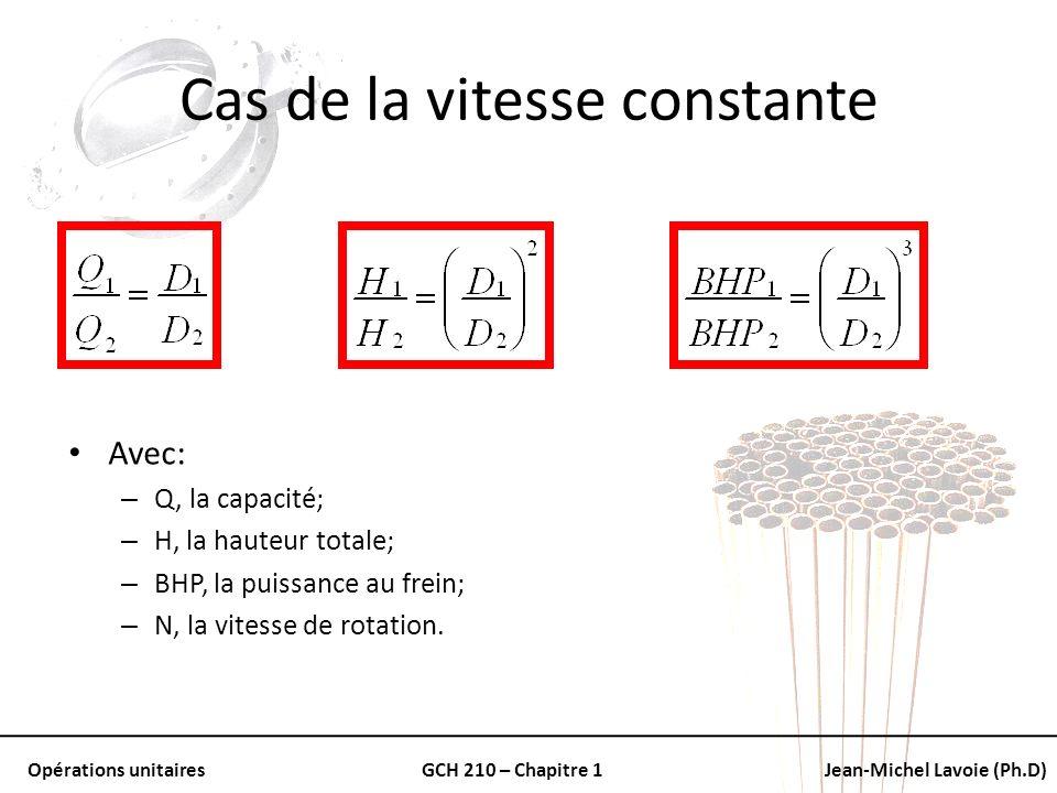 Opérations unitairesGCH 210 – Chapitre 1Jean-Michel Lavoie (Ph.D) Cas de la vitesse constante Avec: – Q, la capacité; – H, la hauteur totale; – BHP, l