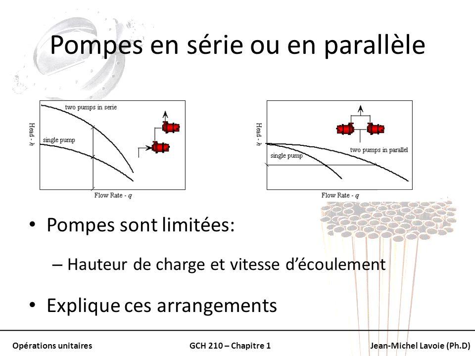 Opérations unitairesGCH 210 – Chapitre 1Jean-Michel Lavoie (Ph.D) Pompes en série ou en parallèle Pompes sont limitées: – Hauteur de charge et vitesse