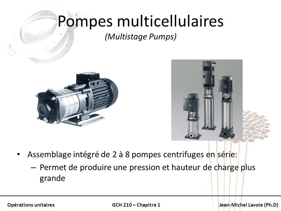 Opérations unitairesGCH 210 – Chapitre 1Jean-Michel Lavoie (Ph.D) Pompes multicellulaires (Multistage Pumps) Assemblage intégré de 2 à 8 pompes centri