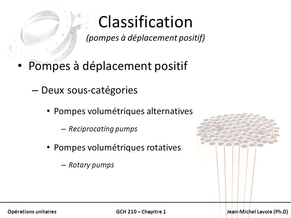 Opérations unitairesGCH 210 – Chapitre 1Jean-Michel Lavoie (Ph.D) Classification (pompes à déplacement positif) Pompes à déplacement positif – Deux so