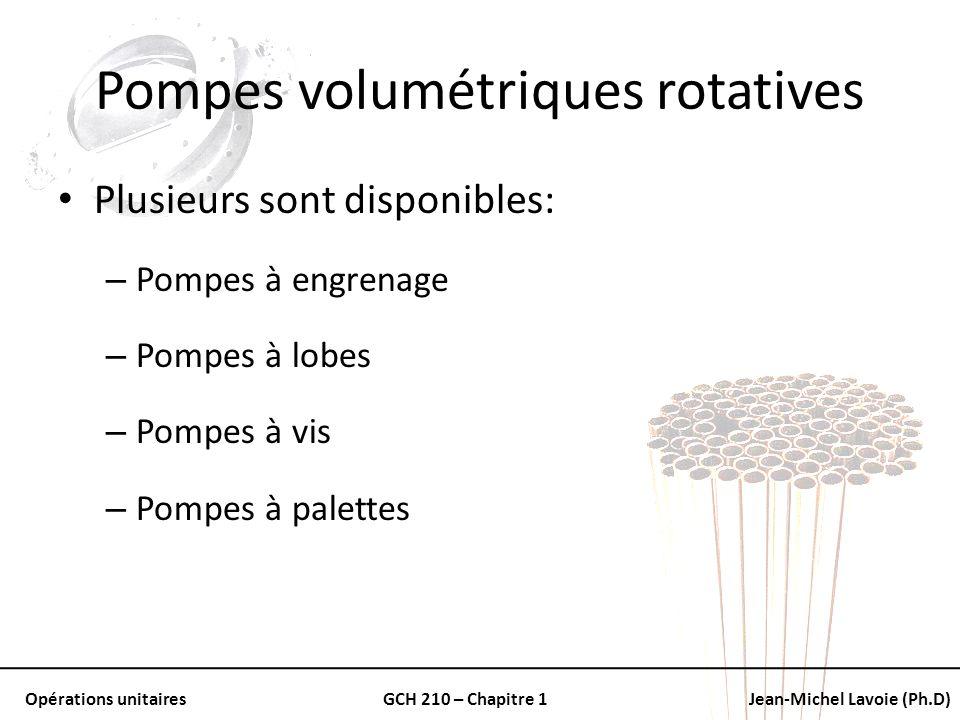 Opérations unitairesGCH 210 – Chapitre 1Jean-Michel Lavoie (Ph.D) Pompes volumétriques rotatives Plusieurs sont disponibles: – Pompes à engrenage – Po