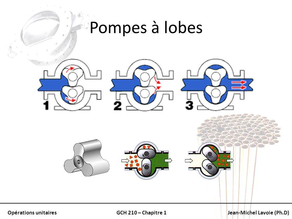 Opérations unitairesGCH 210 – Chapitre 1Jean-Michel Lavoie (Ph.D) Pompes à lobes