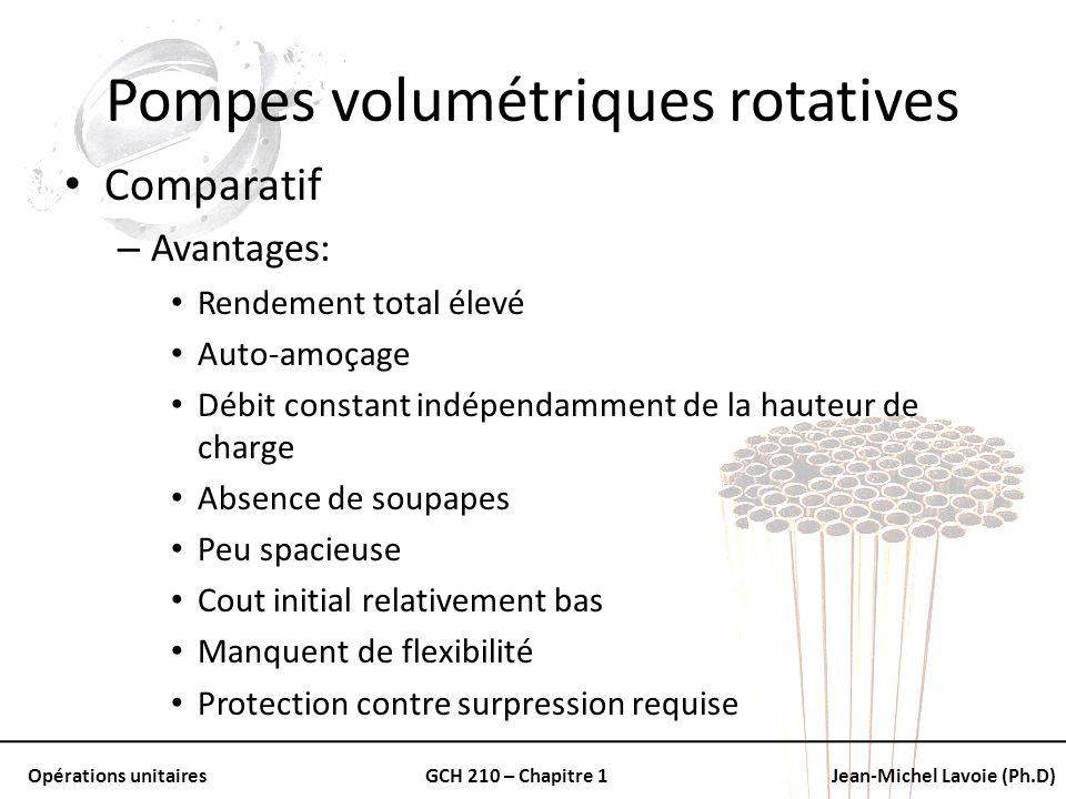 Opérations unitairesGCH 210 – Chapitre 1Jean-Michel Lavoie (Ph.D) Pompes volumétriques rotatives Comparatif – Avantages: Rendement total élevé Auto-am