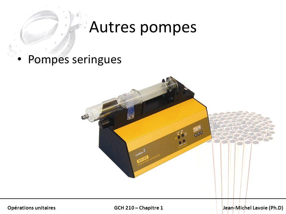 Opérations unitairesGCH 210 – Chapitre 1Jean-Michel Lavoie (Ph.D) Autres pompes Pompes seringues