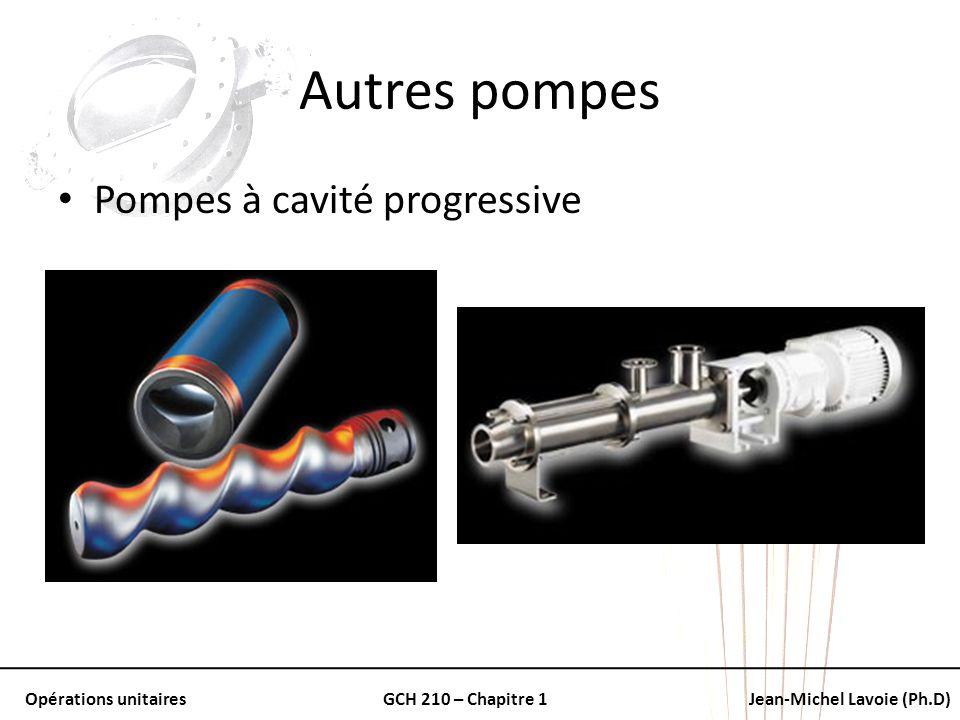 Opérations unitairesGCH 210 – Chapitre 1Jean-Michel Lavoie (Ph.D) Autres pompes Pompes à cavité progressive