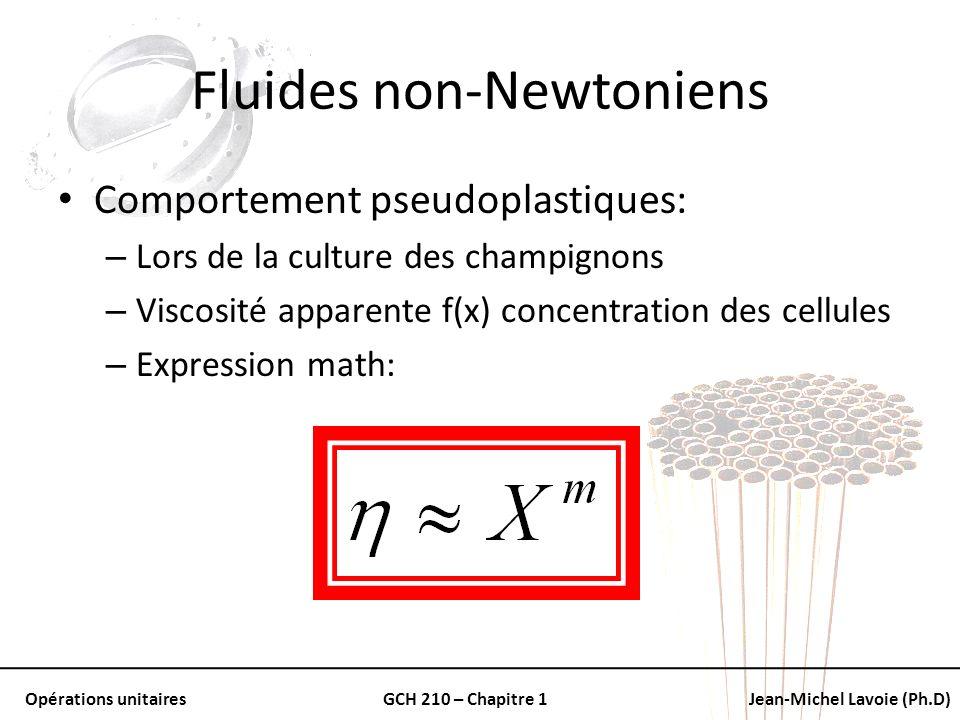 Opérations unitairesGCH 210 – Chapitre 1Jean-Michel Lavoie (Ph.D) Fluides non-Newtoniens Comportement pseudoplastiques: – Lors de la culture des champ