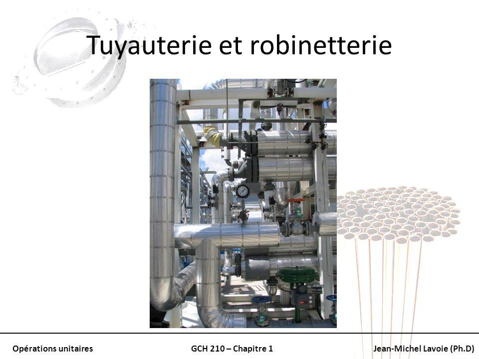 Opérations unitairesGCH 210 – Chapitre 1Jean-Michel Lavoie (Ph.D) Tuyauterie et robinetterie