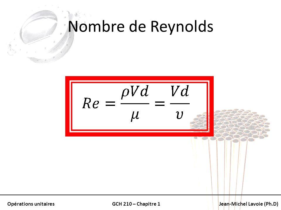 Opérations unitairesGCH 210 – Chapitre 1Jean-Michel Lavoie (Ph.D) Nombre de Reynolds