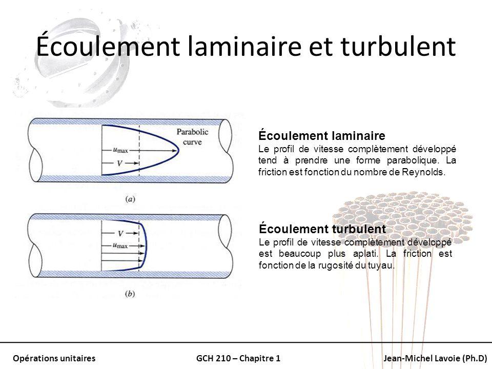 Opérations unitairesGCH 210 – Chapitre 1Jean-Michel Lavoie (Ph.D) Écoulement laminaire et turbulent Écoulement laminaire Le profil de vitesse complète