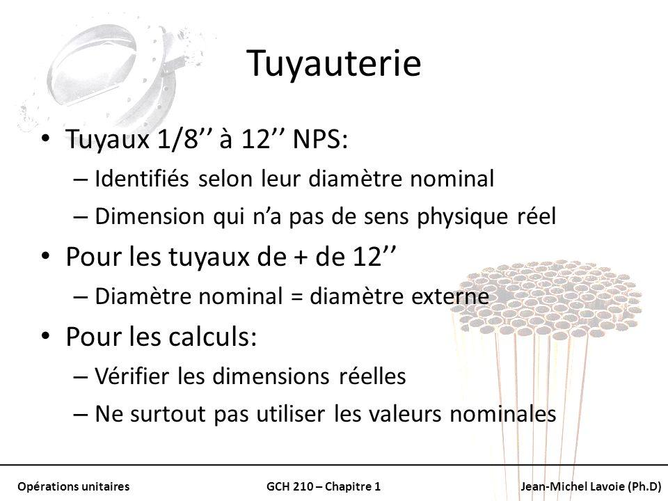 Opérations unitairesGCH 210 – Chapitre 1Jean-Michel Lavoie (Ph.D) Tuyauterie Tuyaux 1/8 à 12 NPS: – Identifiés selon leur diamètre nominal – Dimension