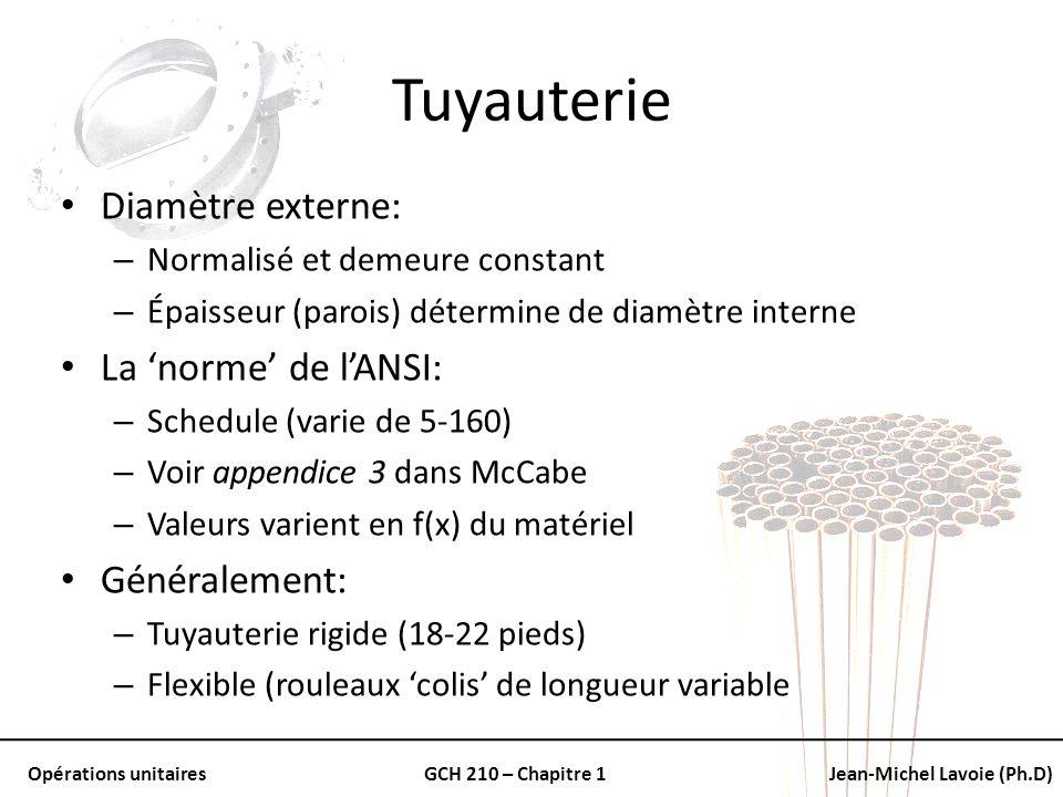 Opérations unitairesGCH 210 – Chapitre 1Jean-Michel Lavoie (Ph.D) Tuyauterie Diamètre externe: – Normalisé et demeure constant – Épaisseur (parois) dé