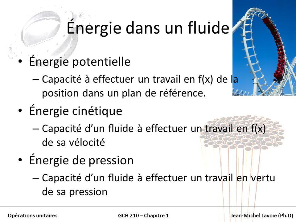 Opérations unitairesGCH 210 – Chapitre 1Jean-Michel Lavoie (Ph.D) Énergie dans un fluide Énergie potentielle – Capacité à effectuer un travail en f(x)