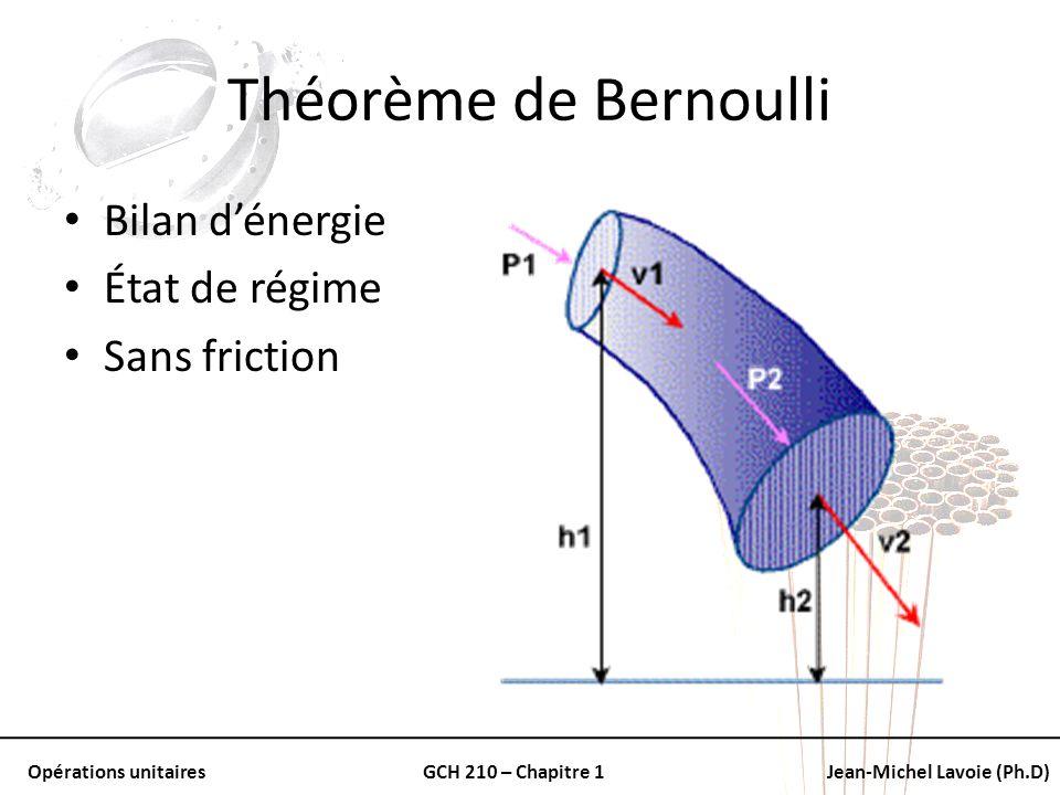 Opérations unitairesGCH 210 – Chapitre 1Jean-Michel Lavoie (Ph.D) Théorème de Bernoulli Bilan dénergie État de régime Sans friction