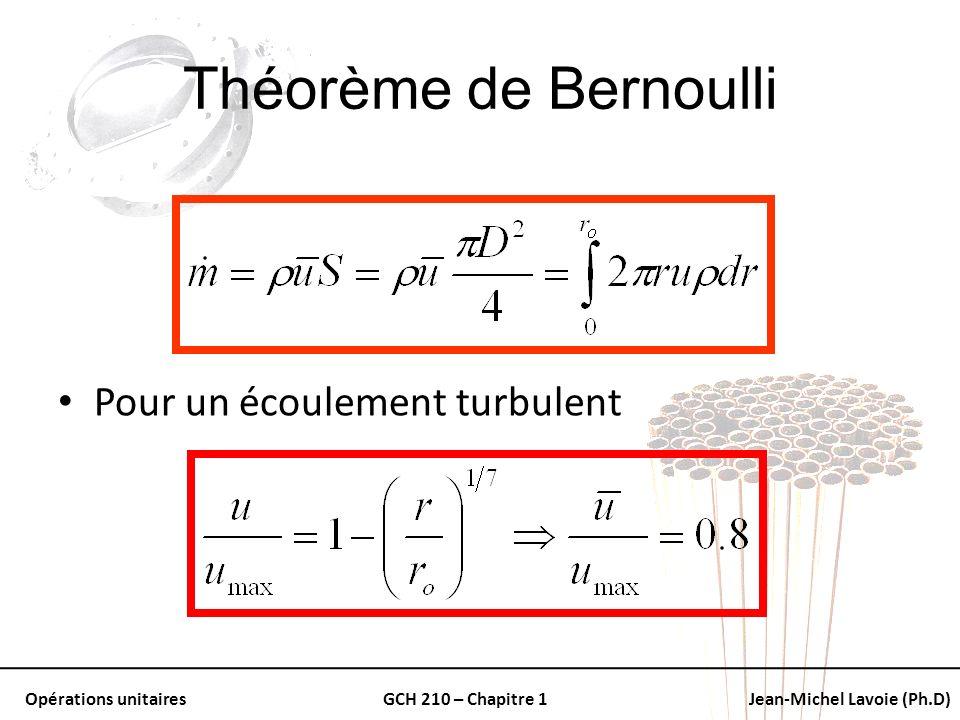 Opérations unitairesGCH 210 – Chapitre 1Jean-Michel Lavoie (Ph.D) Théorème de Bernoulli Pour un écoulement turbulent