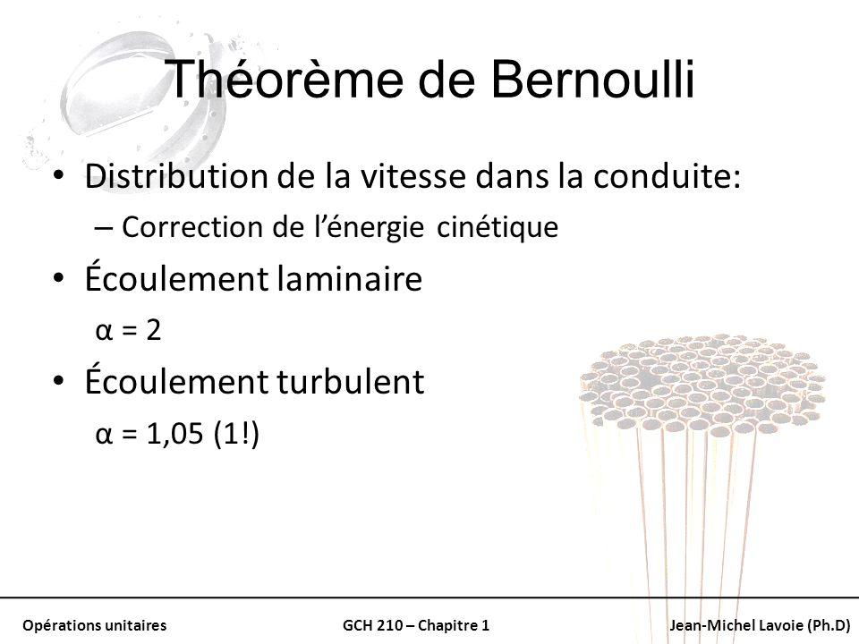 Opérations unitairesGCH 210 – Chapitre 1Jean-Michel Lavoie (Ph.D) Théorème de Bernoulli Distribution de la vitesse dans la conduite: – Correction de l