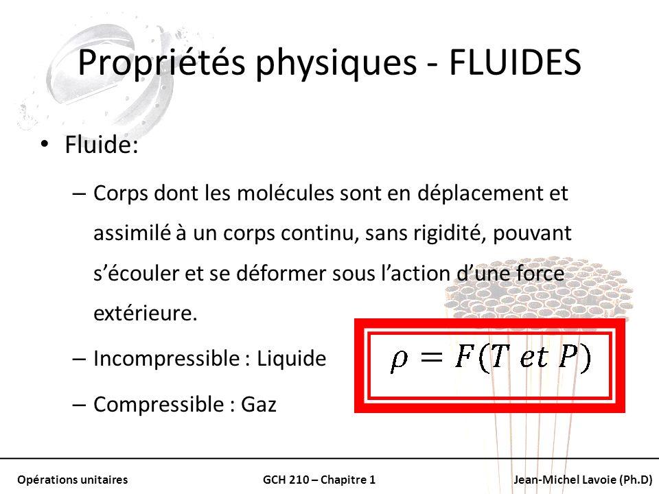 Opérations unitairesGCH 210 – Chapitre 1Jean-Michel Lavoie (Ph.D) Propriétés physiques - FLUIDES Fluide: – Corps dont les molécules sont en déplacemen