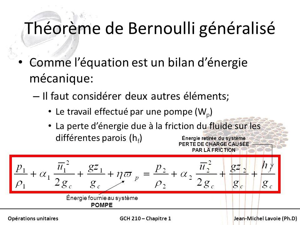 Opérations unitairesGCH 210 – Chapitre 1Jean-Michel Lavoie (Ph.D) Théorème de Bernoulli généralisé Comme léquation est un bilan dénergie mécanique: –
