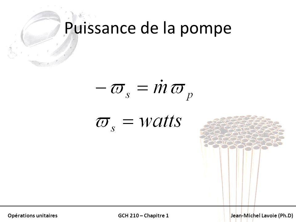 Opérations unitairesGCH 210 – Chapitre 1Jean-Michel Lavoie (Ph.D) Puissance de la pompe