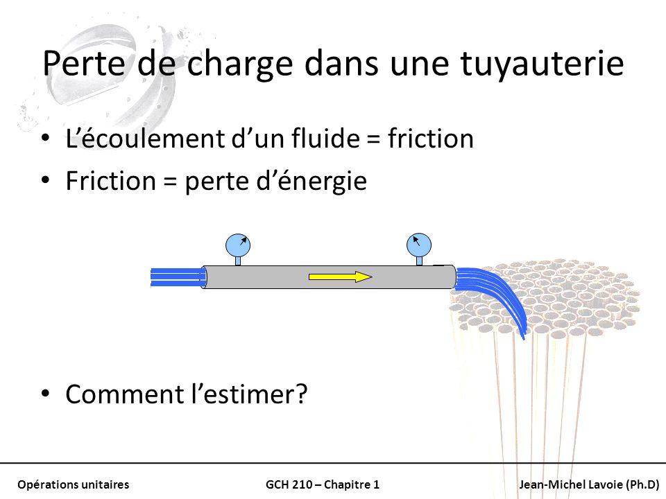 Opérations unitairesGCH 210 – Chapitre 1Jean-Michel Lavoie (Ph.D) Perte de charge dans une tuyauterie Lécoulement dun fluide = friction Friction = per