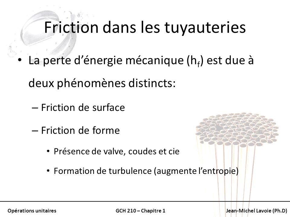 Opérations unitairesGCH 210 – Chapitre 1Jean-Michel Lavoie (Ph.D) Friction dans les tuyauteries La perte dénergie mécanique (h f ) est due à deux phén