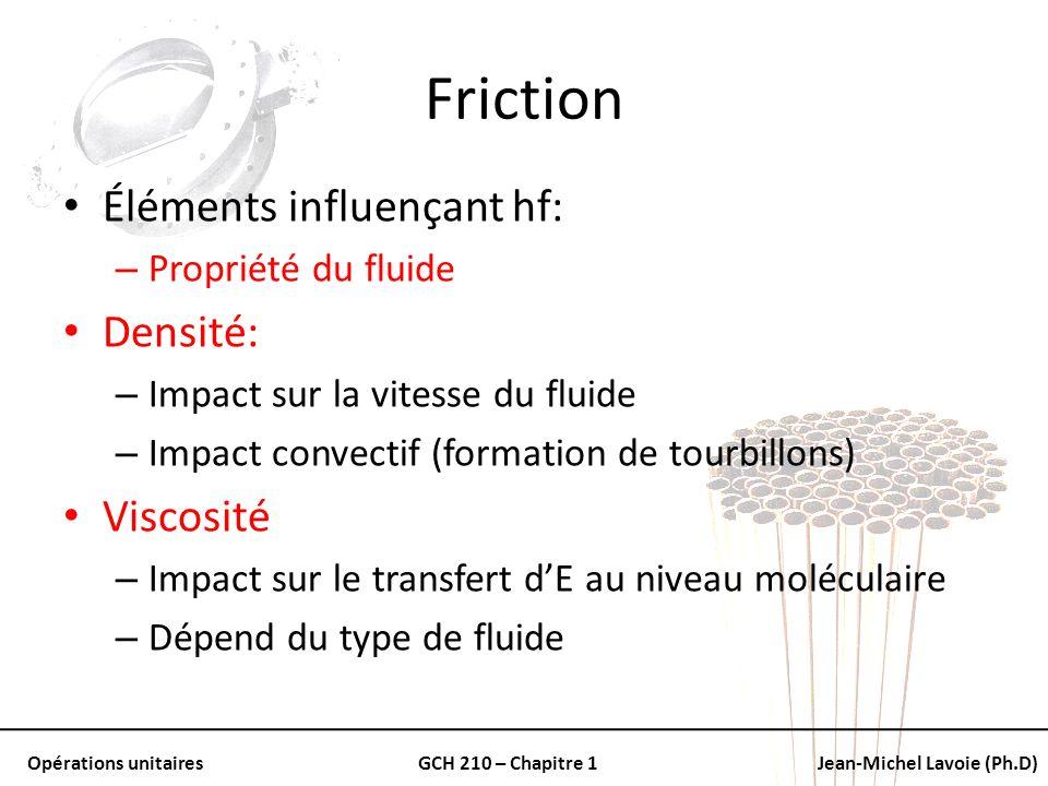 Opérations unitairesGCH 210 – Chapitre 1Jean-Michel Lavoie (Ph.D) Friction Éléments influençant hf: – Propriété du fluide Densité: – Impact sur la vit