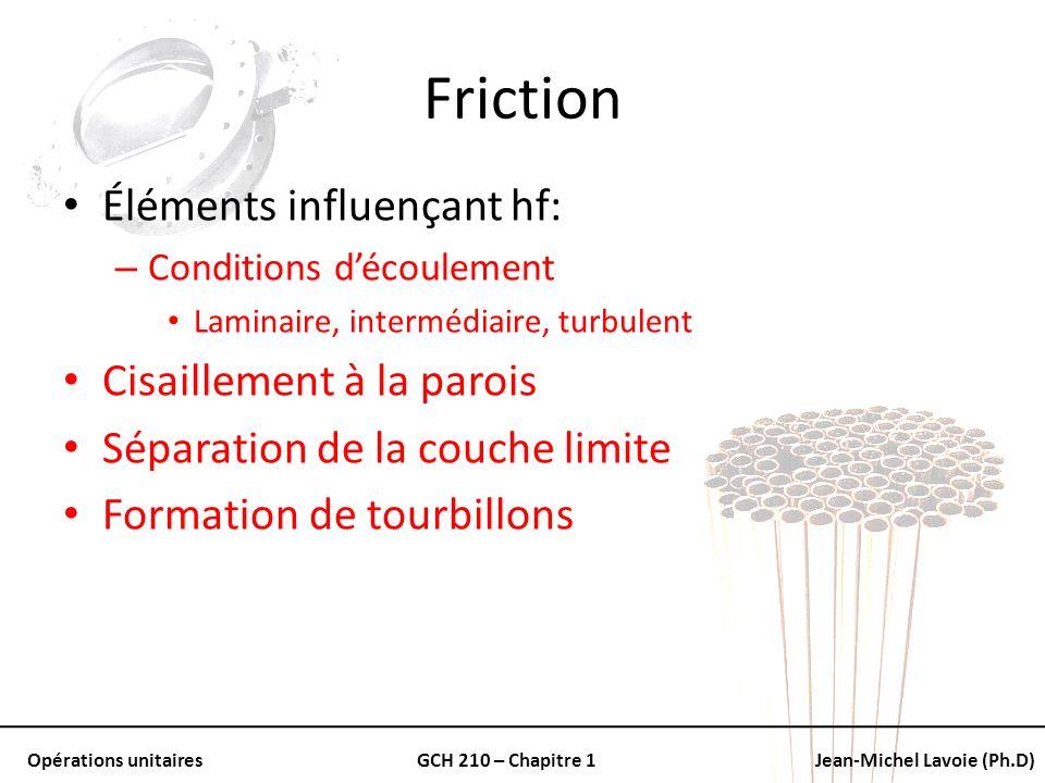 Opérations unitairesGCH 210 – Chapitre 1Jean-Michel Lavoie (Ph.D) Friction Éléments influençant hf: – Conditions découlement Laminaire, intermédiaire,
