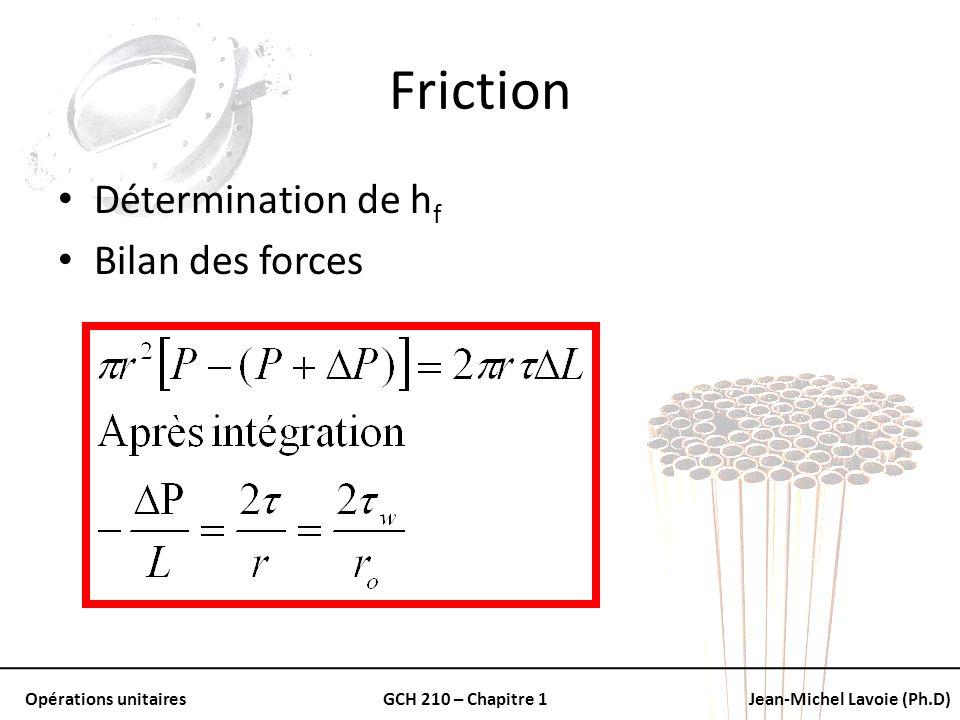 Opérations unitairesGCH 210 – Chapitre 1Jean-Michel Lavoie (Ph.D) Friction Détermination de h f Bilan des forces