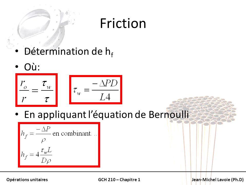 Opérations unitairesGCH 210 – Chapitre 1Jean-Michel Lavoie (Ph.D) Friction Détermination de h f Où: En appliquant léquation de Bernoulli