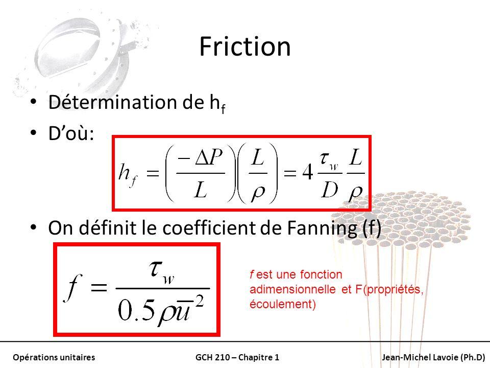 Opérations unitairesGCH 210 – Chapitre 1Jean-Michel Lavoie (Ph.D) Friction Détermination de h f Doù: On définit le coefficient de Fanning (f) f est un