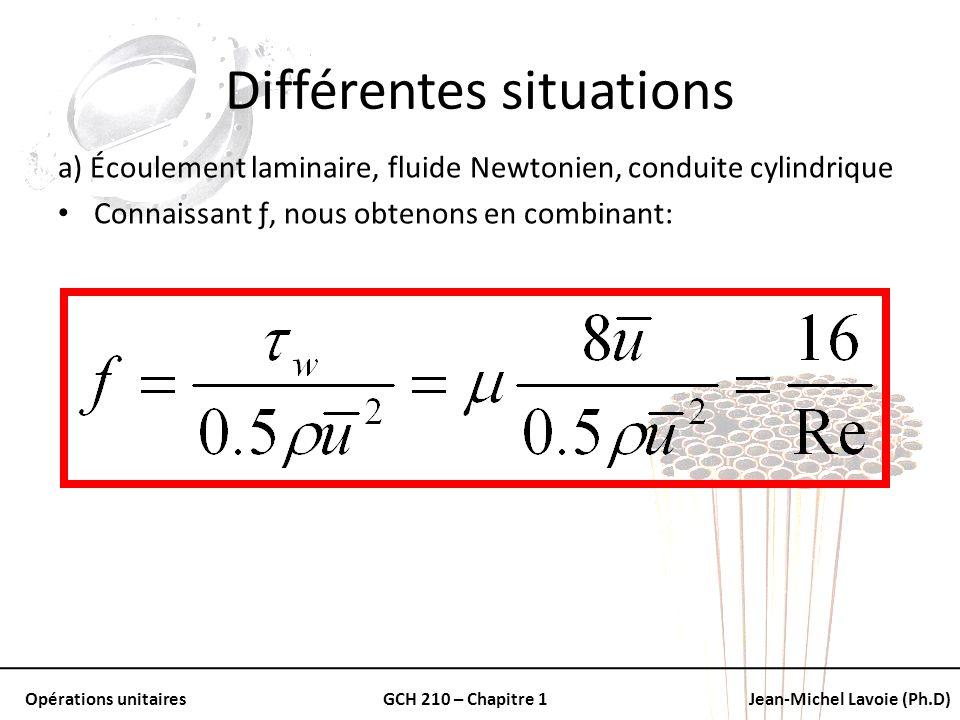 Opérations unitairesGCH 210 – Chapitre 1Jean-Michel Lavoie (Ph.D) Différentes situations a) Écoulement laminaire, fluide Newtonien, conduite cylindriq