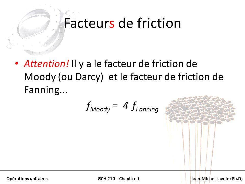 Opérations unitairesGCH 210 – Chapitre 1Jean-Michel Lavoie (Ph.D) Facteurs de friction Attention! Il y a le facteur de friction de Moody (ou Darcy) et