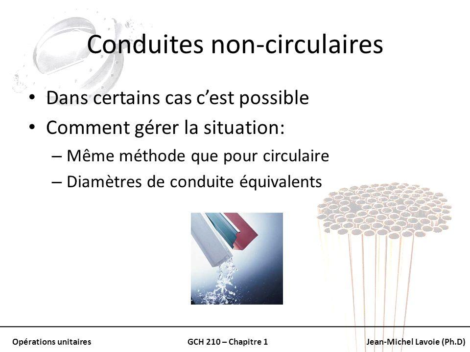 Opérations unitairesGCH 210 – Chapitre 1Jean-Michel Lavoie (Ph.D) Conduites non-circulaires Dans certains cas cest possible Comment gérer la situation