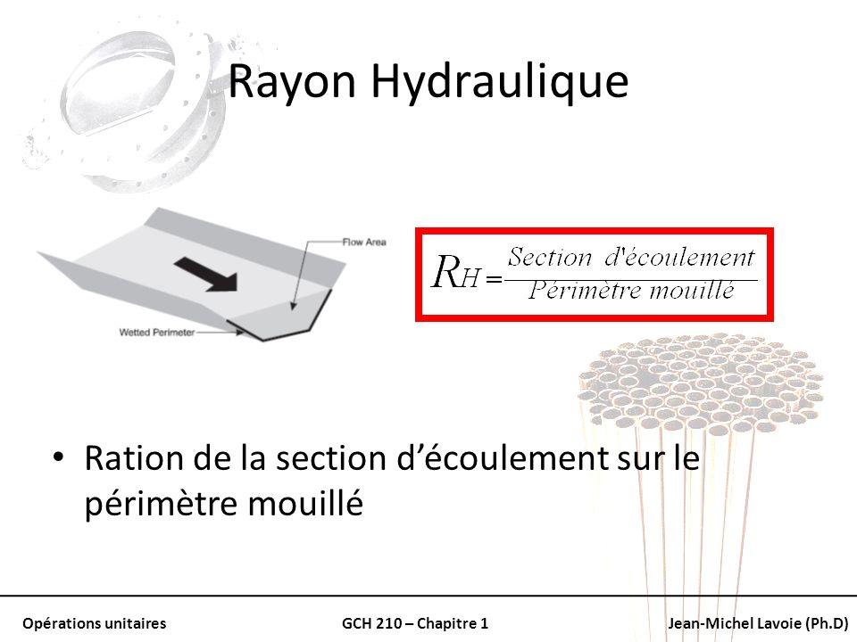 Opérations unitairesGCH 210 – Chapitre 1Jean-Michel Lavoie (Ph.D) Rayon Hydraulique Ration de la section découlement sur le périmètre mouillé