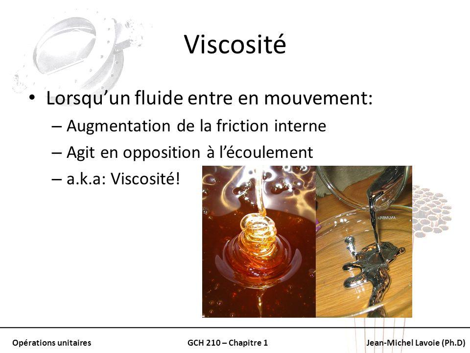 Opérations unitairesGCH 210 – Chapitre 1Jean-Michel Lavoie (Ph.D) Viscosité Lorsquun fluide entre en mouvement: – Augmentation de la friction interne