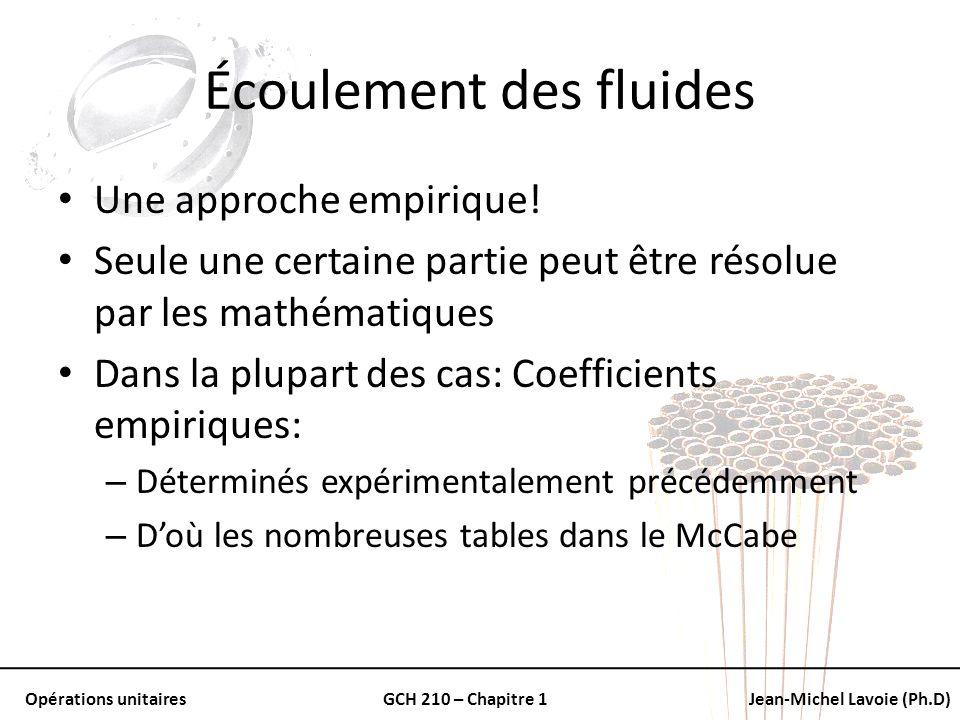 Opérations unitairesGCH 210 – Chapitre 1Jean-Michel Lavoie (Ph.D) Écoulement des fluides Une approche empirique! Seule une certaine partie peut être r