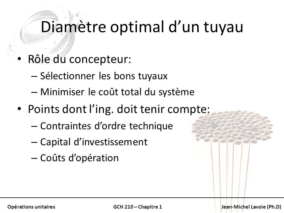 Opérations unitairesGCH 210 – Chapitre 1Jean-Michel Lavoie (Ph.D) Diamètre optimal dun tuyau Rôle du concepteur: – Sélectionner les bons tuyaux – Mini