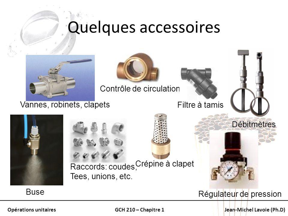 Opérations unitairesGCH 210 – Chapitre 1Jean-Michel Lavoie (Ph.D) Quelques accessoires Vannes, robinets, clapets Débitmètres Raccords: coudes, Tees, u