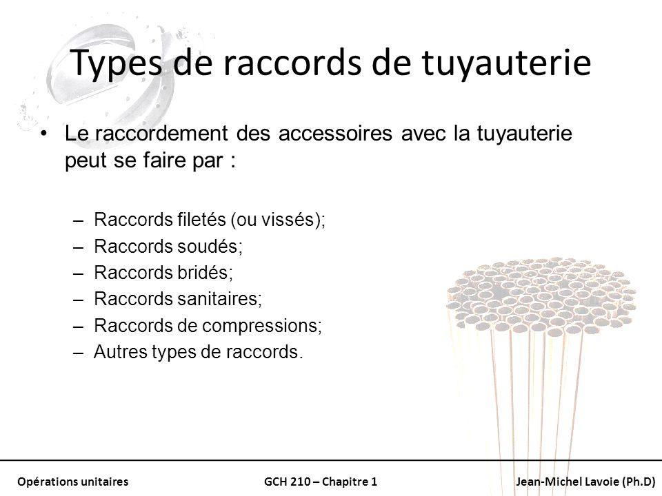 Opérations unitairesGCH 210 – Chapitre 1Jean-Michel Lavoie (Ph.D) Types de raccords de tuyauterie Le raccordement des accessoires avec la tuyauterie p