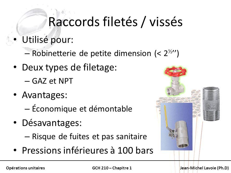 Opérations unitairesGCH 210 – Chapitre 1Jean-Michel Lavoie (Ph.D) Raccords filetés / vissés Utilisé pour: – Robinetterie de petite dimension (< 2 ½ )